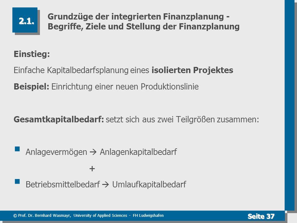 © Prof. Dr. Bernhard Wasmayr, University of Applied Sciences - FH Ludwigshafen Seite 37 Grundzüge der integrierten Finanzplanung - Begriffe, Ziele und