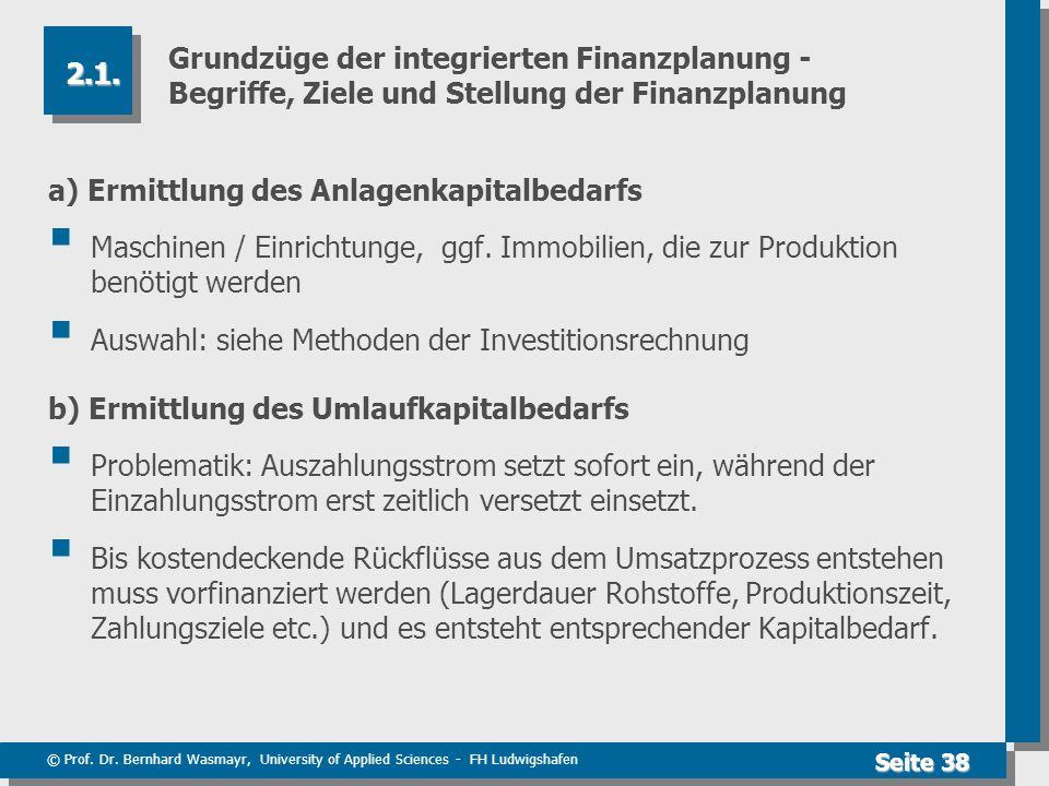 © Prof. Dr. Bernhard Wasmayr, University of Applied Sciences - FH Ludwigshafen Seite 38 Grundzüge der integrierten Finanzplanung - Begriffe, Ziele und