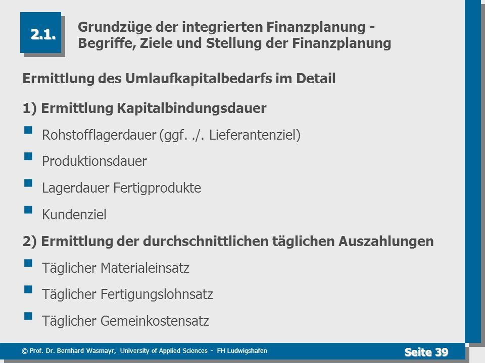 © Prof. Dr. Bernhard Wasmayr, University of Applied Sciences - FH Ludwigshafen Seite 39 Grundzüge der integrierten Finanzplanung - Begriffe, Ziele und