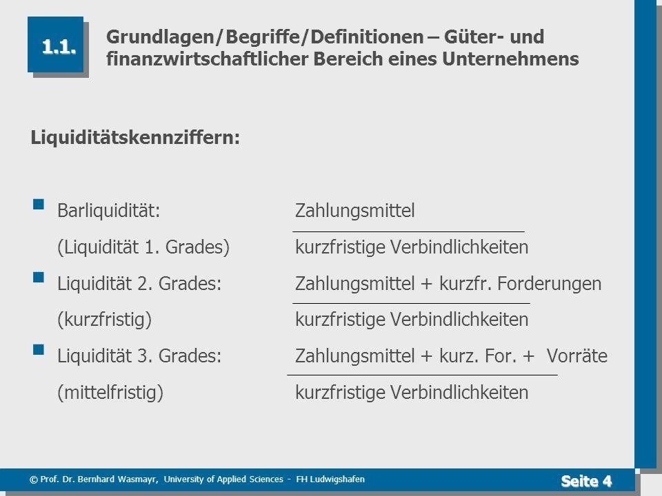© Prof. Dr. Bernhard Wasmayr, University of Applied Sciences - FH Ludwigshafen Seite 4 Grundlagen/Begriffe/Definitionen – Güter- und finanzwirtschaftl