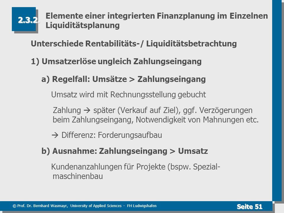 © Prof. Dr. Bernhard Wasmayr, University of Applied Sciences - FH Ludwigshafen Seite 51 Elemente einer integrierten Finanzplanung im Einzelnen Liquidi