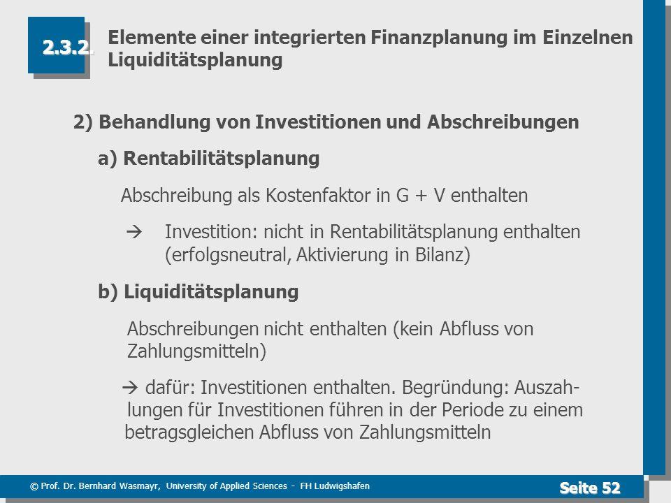 © Prof. Dr. Bernhard Wasmayr, University of Applied Sciences - FH Ludwigshafen Seite 52 Elemente einer integrierten Finanzplanung im Einzelnen Liquidi