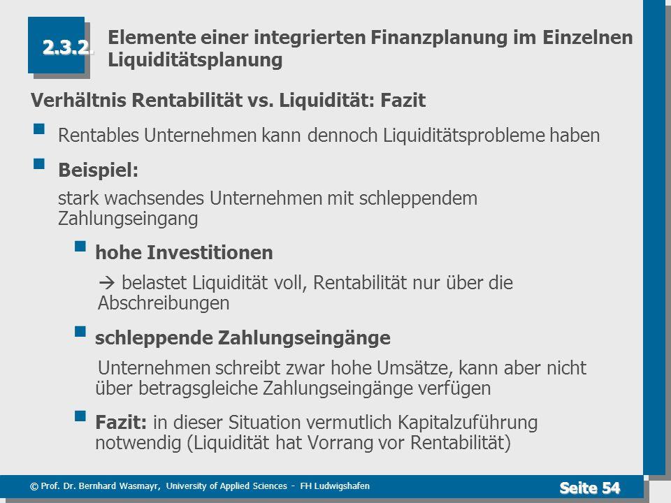 © Prof. Dr. Bernhard Wasmayr, University of Applied Sciences - FH Ludwigshafen Seite 54 Elemente einer integrierten Finanzplanung im Einzelnen Liquidi