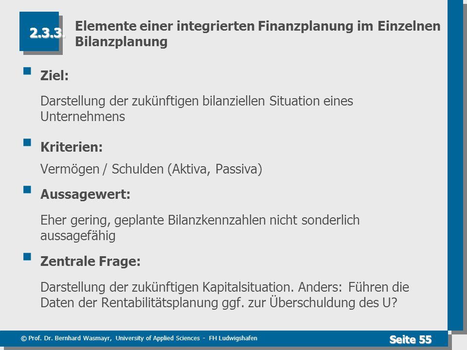 © Prof. Dr. Bernhard Wasmayr, University of Applied Sciences - FH Ludwigshafen Seite 55 Elemente einer integrierten Finanzplanung im Einzelnen Bilanzp