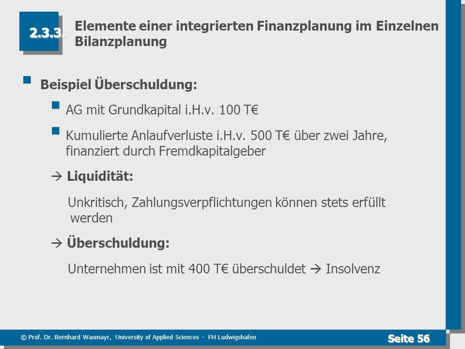 © Prof. Dr. Bernhard Wasmayr, University of Applied Sciences - FH Ludwigshafen Seite 56 Elemente einer integrierten Finanzplanung im Einzelnen Bilanzp
