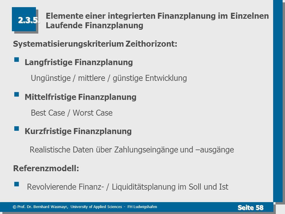 © Prof. Dr. Bernhard Wasmayr, University of Applied Sciences - FH Ludwigshafen Seite 58 Elemente einer integrierten Finanzplanung im Einzelnen Laufend