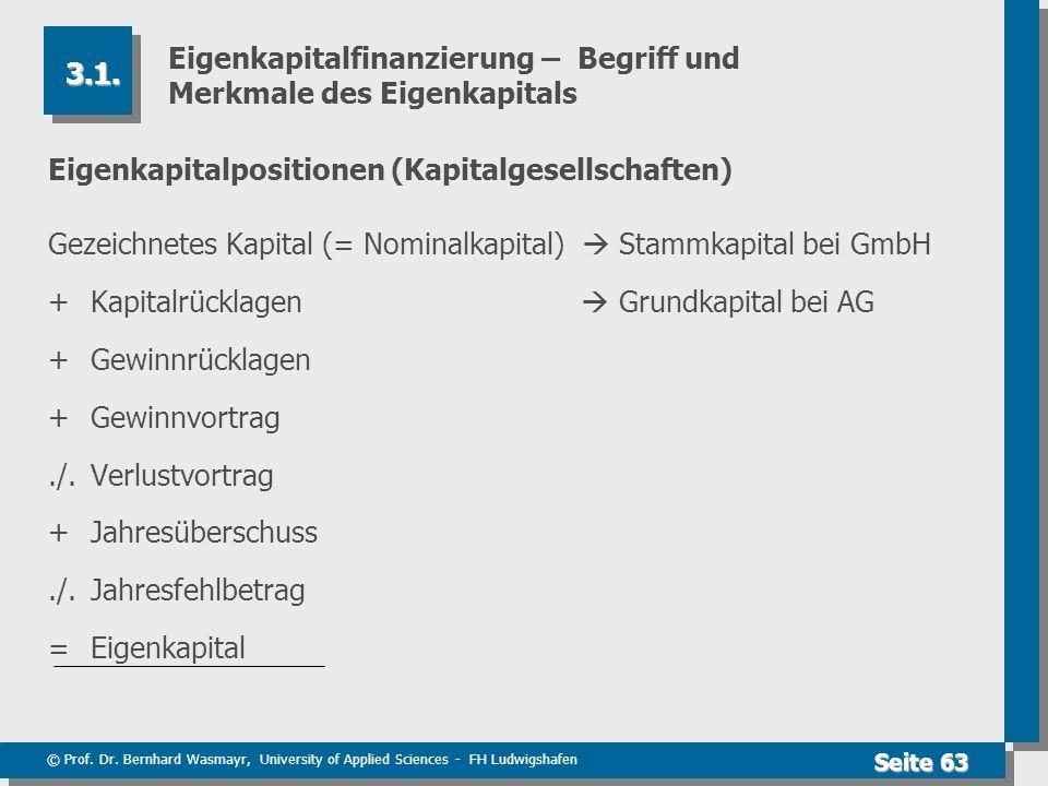 © Prof. Dr. Bernhard Wasmayr, University of Applied Sciences - FH Ludwigshafen Seite 63 Eigenkapitalfinanzierung – Begriff und Merkmale des Eigenkapit