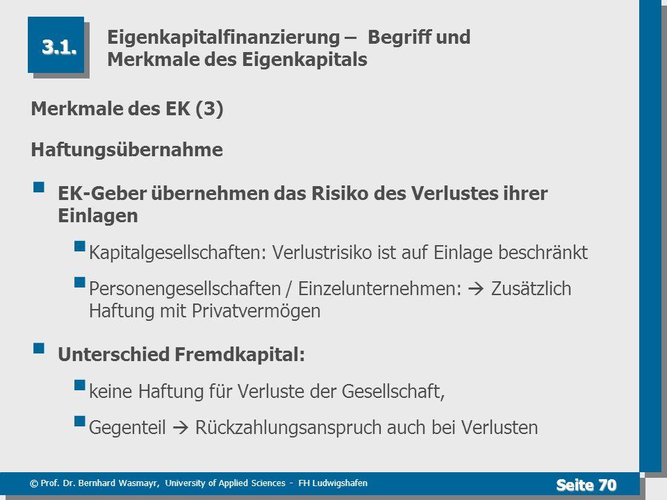 © Prof. Dr. Bernhard Wasmayr, University of Applied Sciences - FH Ludwigshafen Seite 70 Eigenkapitalfinanzierung – Begriff und Merkmale des Eigenkapit