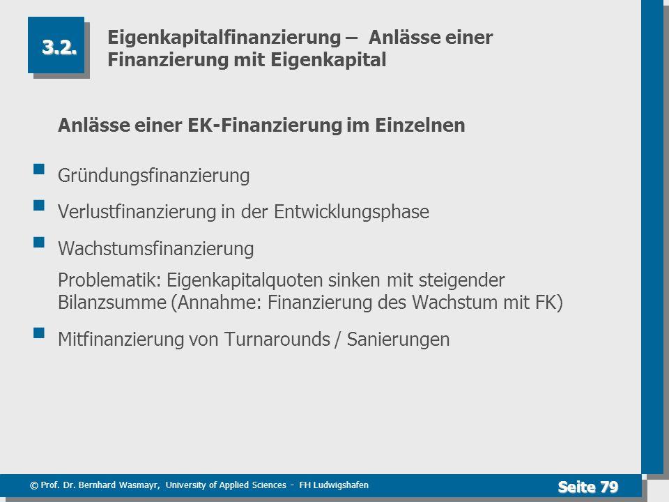 © Prof. Dr. Bernhard Wasmayr, University of Applied Sciences - FH Ludwigshafen Seite 79 Eigenkapitalfinanzierung – Anlässe einer Finanzierung mit Eige