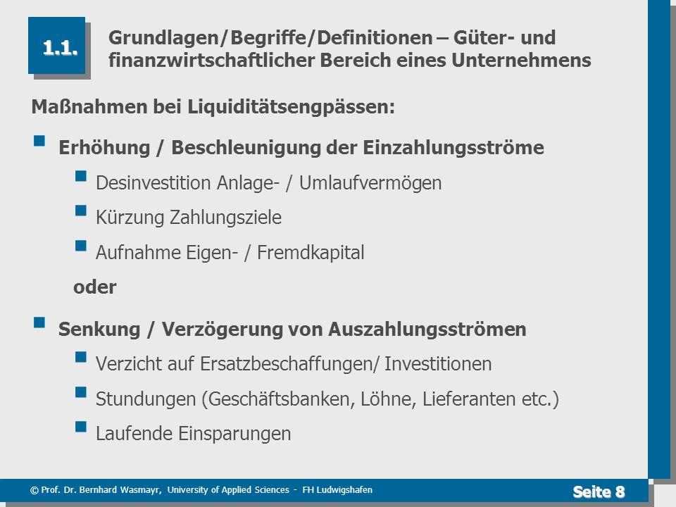 © Prof. Dr. Bernhard Wasmayr, University of Applied Sciences - FH Ludwigshafen Seite 8 Grundlagen/Begriffe/Definitionen – Güter- und finanzwirtschaftl