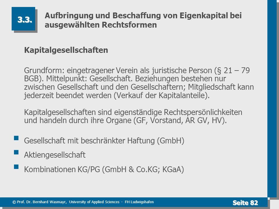 © Prof. Dr. Bernhard Wasmayr, University of Applied Sciences - FH Ludwigshafen Seite 82 Aufbringung und Beschaffung von Eigenkapital bei ausgewählten
