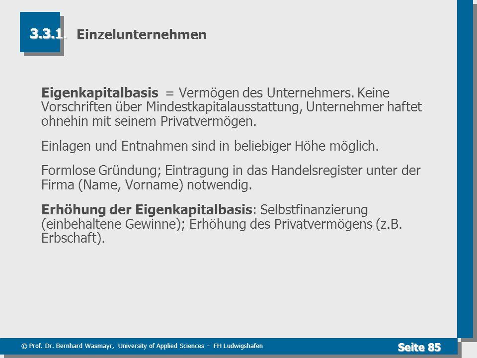 © Prof. Dr. Bernhard Wasmayr, University of Applied Sciences - FH Ludwigshafen Seite 85 Einzelunternehmen Eigenkapitalbasis = Vermögen des Unternehmer