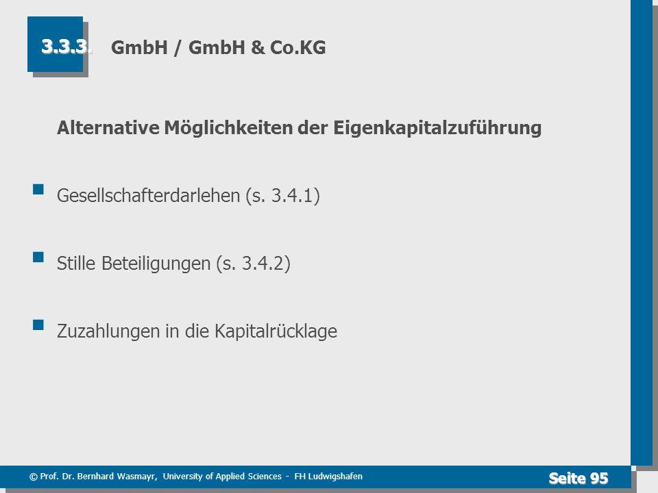 © Prof. Dr. Bernhard Wasmayr, University of Applied Sciences - FH Ludwigshafen Seite 95 GmbH / GmbH & Co.KG Alternative Möglichkeiten der Eigenkapital