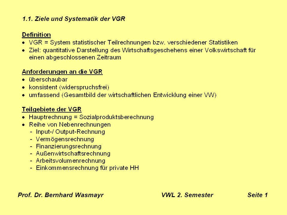 Prof. Dr. Bernhard Wasmayr VWL 2. Semester Seite 2 1.1. Ziele und Systematik der VGR