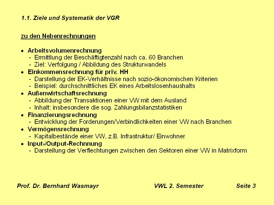Prof. Dr. Bernhard Wasmayr VWL 2. Semester Seite 4 1.1. Ziele und Systematik der VGR