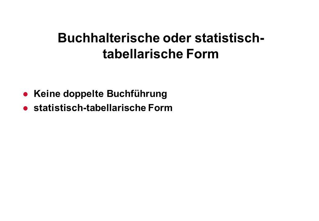 Buchhalterische oder statistisch- tabellarische Form l Keine doppelte Buchführung l statistisch-tabellarische Form