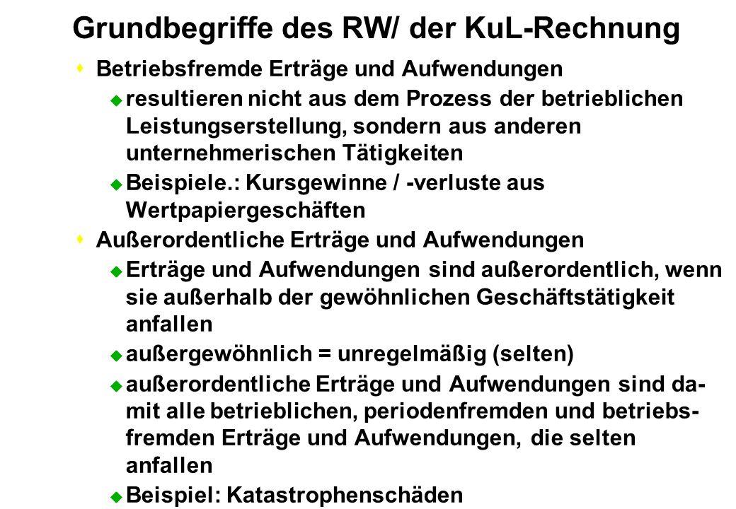 Grundbegriffe des RW/ der KuL-Rechnung sBetriebsfremde Erträge und Aufwendungen u resultieren nicht aus dem Prozess der betrieblichen Leistungserstell
