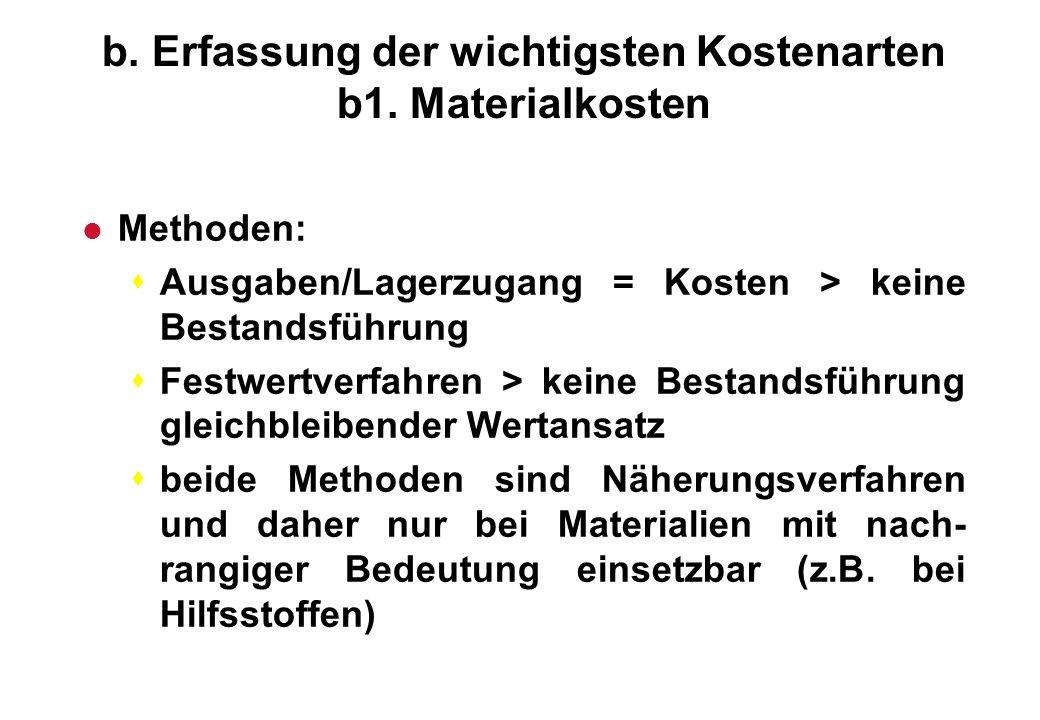 b. Erfassung der wichtigsten Kostenarten b1. Materialkosten l Methoden: sAusgaben/Lagerzugang = Kosten > keine Bestandsführung sFestwertverfahren > ke