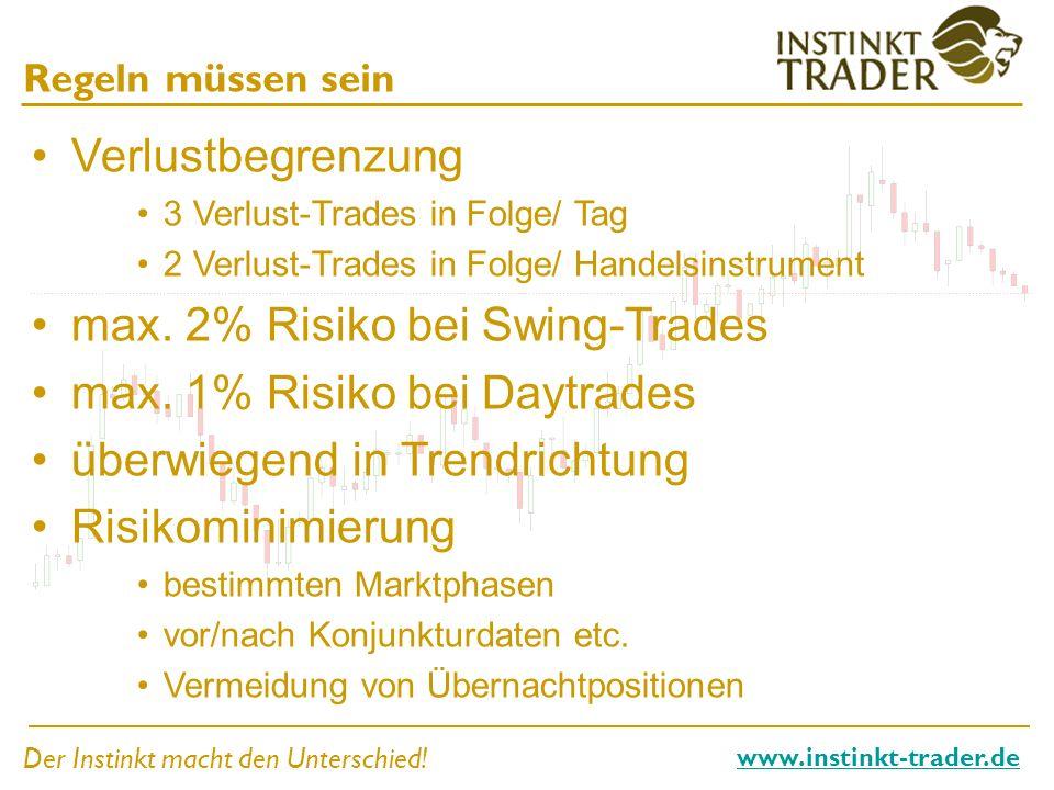 Der Instinkt macht den Unterschied! www.instinkt-trader.de Regeln müssen sein Verlustbegrenzung 3 Verlust-Trades in Folge/ Tag 2 Verlust-Trades in Fol
