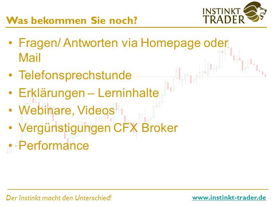 Der Instinkt macht den Unterschied! www.instinkt-trader.de Was bekommen Sie noch? Fragen/ Antworten via Homepage oder Mail Telefonsprechstunde Erkläru