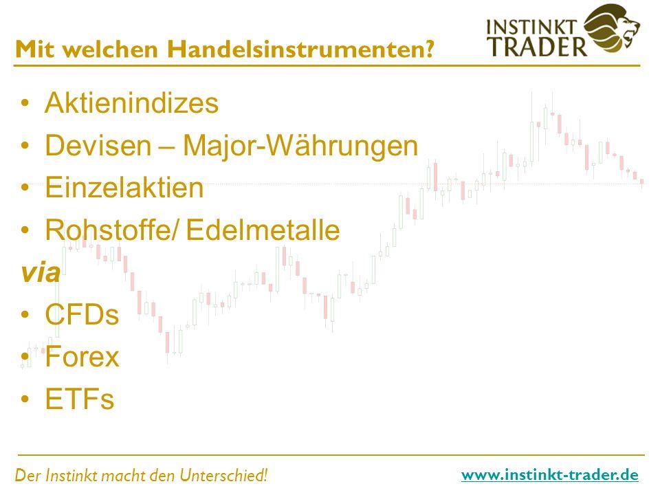 Der Instinkt macht den Unterschied! www.instinkt-trader.de Mit welchen Handelsinstrumenten? Aktienindizes Devisen – Major-Währungen Einzelaktien Rohst
