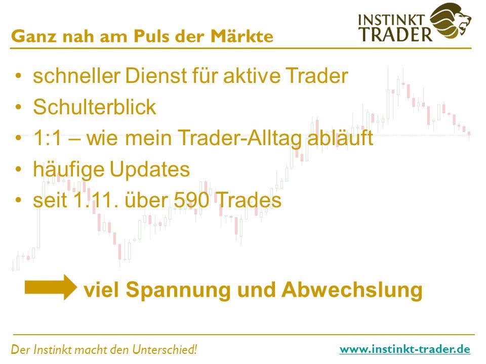Der Instinkt macht den Unterschied! www.instinkt-trader.de Ganz nah am Puls der Märkte schneller Dienst für aktive Trader Schulterblick 1:1 – wie mein