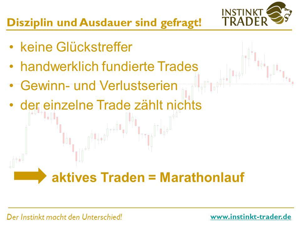 Der Instinkt macht den Unterschied! www.instinkt-trader.de Disziplin und Ausdauer sind gefragt! keine Glückstreffer handwerklich fundierte Trades Gewi