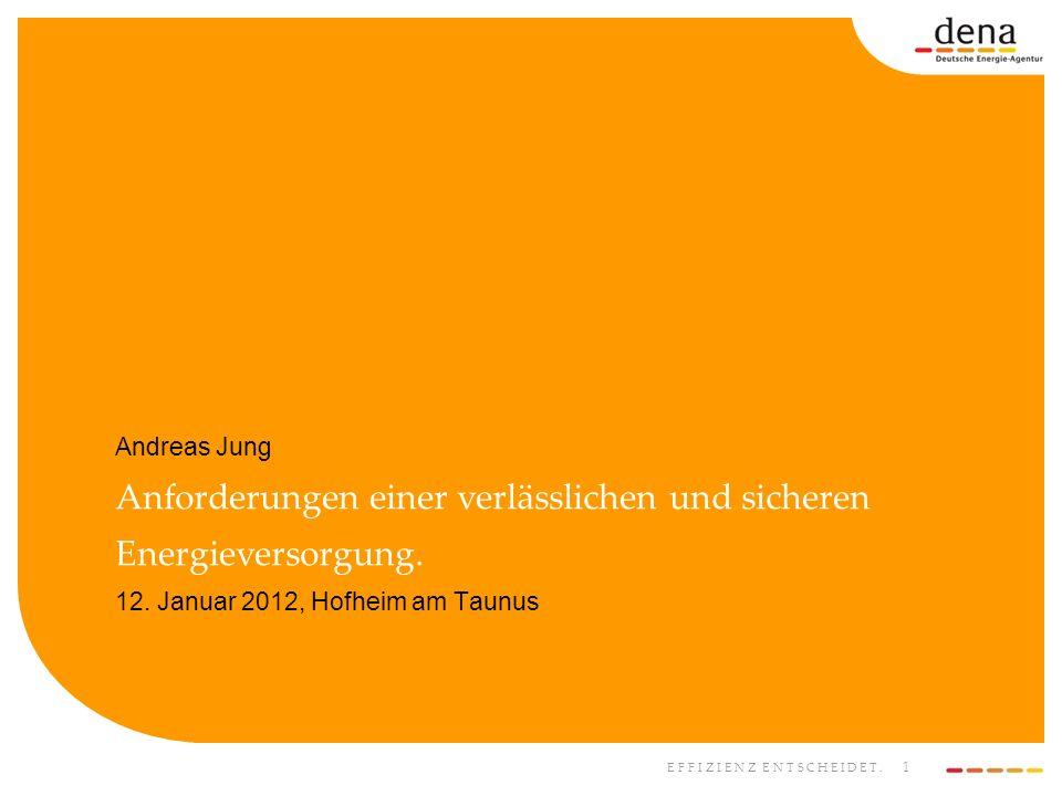 EFFIZIENZ ENTSCHEIDET. 1 Andreas Jung Anforderungen einer verlässlichen und sicheren Energieversorgung. 12. Januar 2012, Hofheim am Taunus
