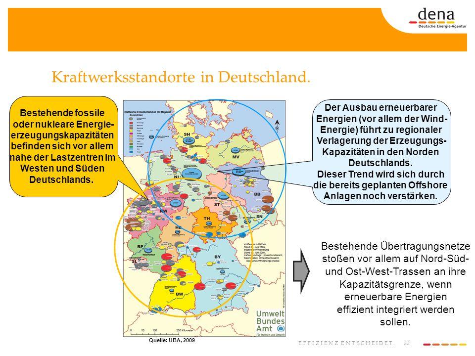 22 EFFIZIENZ ENTSCHEIDET. Kraftwerksstandorte in Deutschland. Bestehende Übertragungsnetze stoßen vor allem auf Nord-Süd- und Ost-West-Trassen an ihre