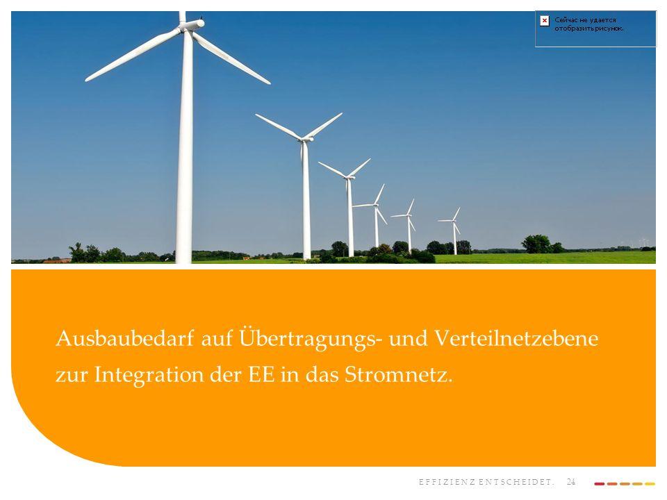 EFFIZIENZ ENTSCHEIDET. 24 Ausbaubedarf auf Übertragungs- und Verteilnetzebene zur Integration der EE in das Stromnetz.