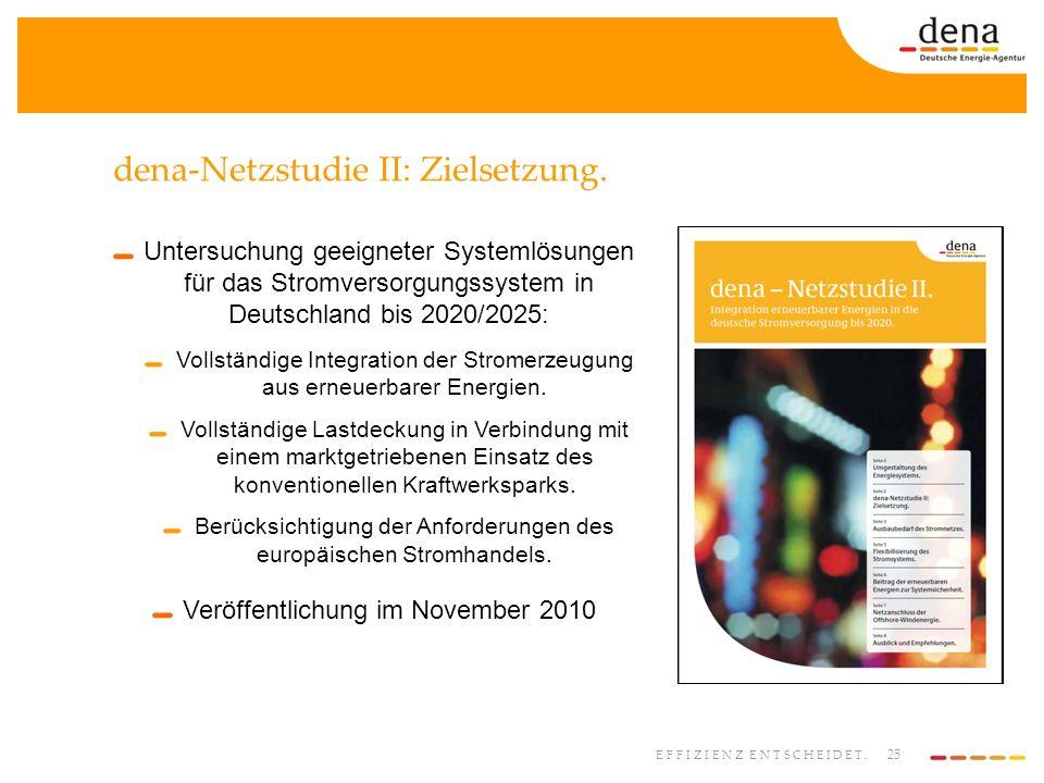 25 EFFIZIENZ ENTSCHEIDET. dena-Netzstudie II: Zielsetzung. Untersuchung geeigneter Systemlösungen für das Stromversorgungssystem in Deutschland bis 20