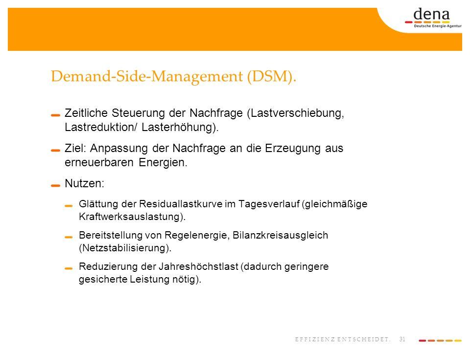 31 EFFIZIENZ ENTSCHEIDET. Demand-Side-Management (DSM). Zeitliche Steuerung der Nachfrage (Lastverschiebung, Lastreduktion/ Lasterhöhung). Ziel: Anpas