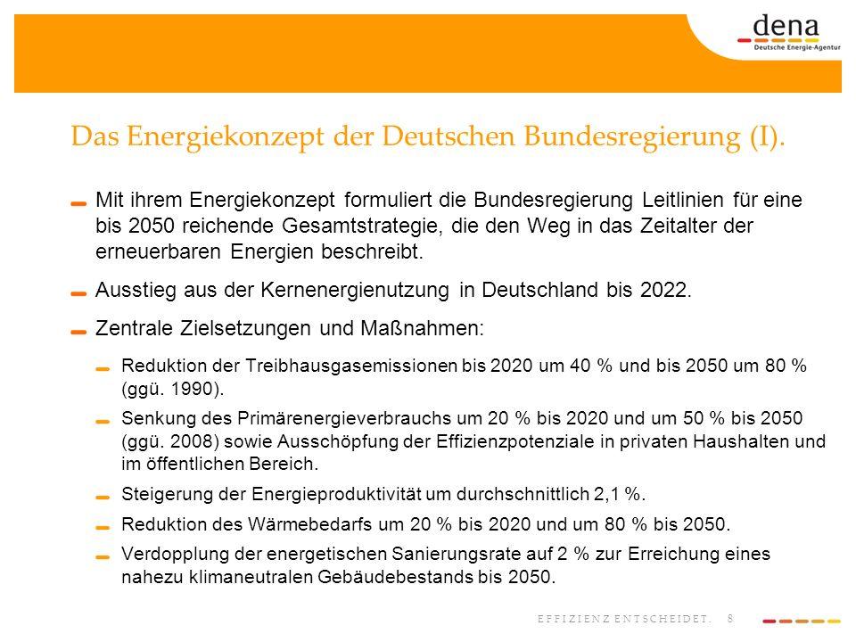 8 EFFIZIENZ ENTSCHEIDET. Das Energiekonzept der Deutschen Bundesregierung (I). Mit ihrem Energiekonzept formuliert die Bundesregierung Leitlinien für