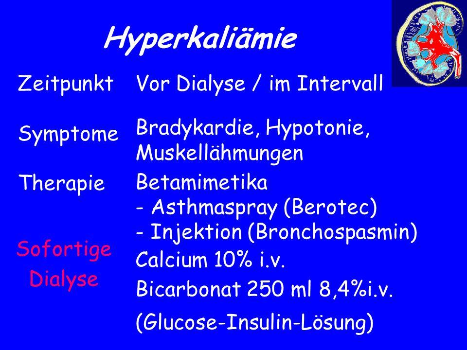 Hyperkaliämie Sofortige Dialyse Zeitpunkt Symptome Therapie Vor Dialyse / im Intervall Bradykardie, Hypotonie, Muskellähmungen Betamimetika - Asthmasp