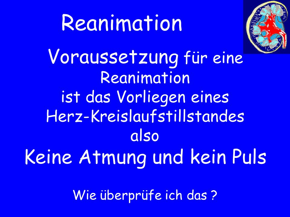 Voraussetzung für eine Reanimation ist das Vorliegen eines Herz-Kreislaufstillstandes also Keine Atmung und kein Puls Wie überprüfe ich das ? Reanimat