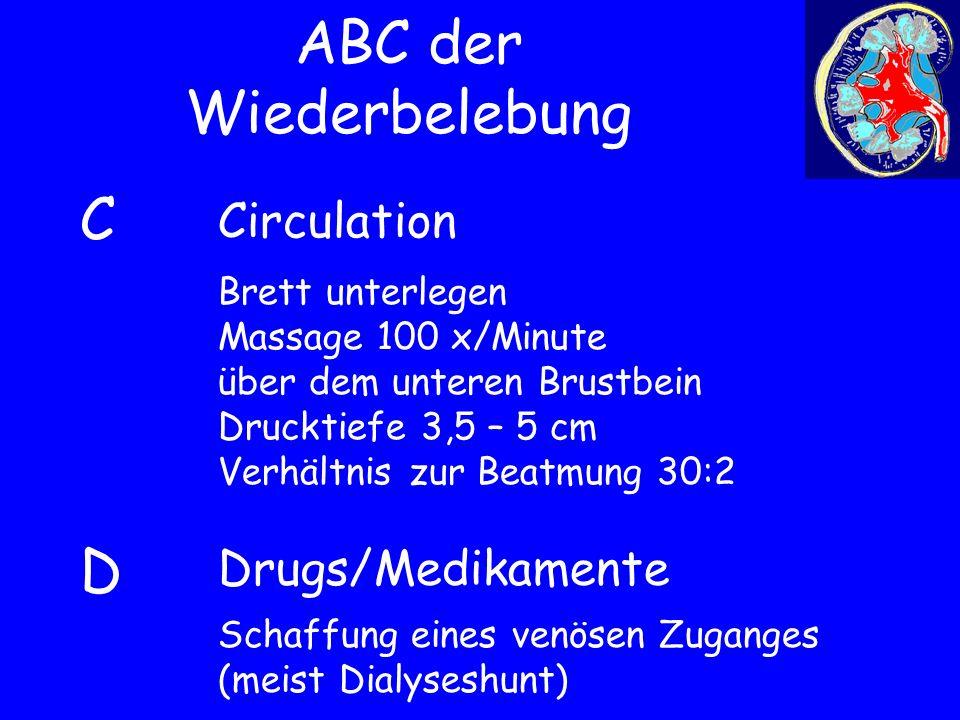 ABC der Wiederbelebung Drugs/Medikamente CDCD Circulation Brett unterlegen Massage 100 x/Minute über dem unteren Brustbein Drucktiefe 3,5 – 5 cm Verhä