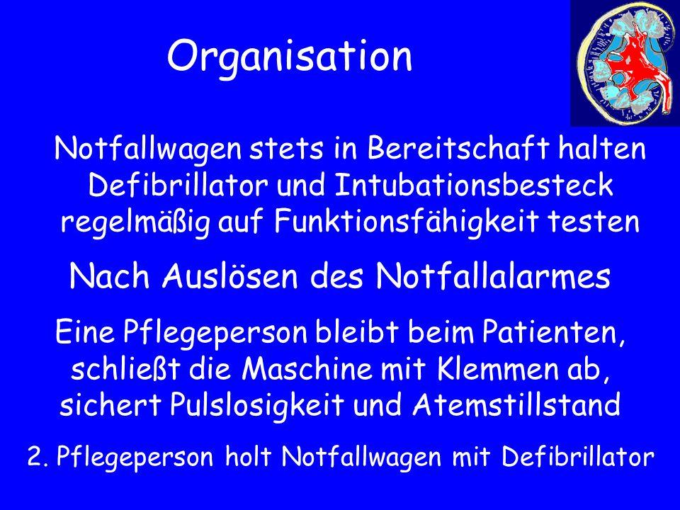 Organisation Notfallwagen stets in Bereitschaft halten Defibrillator und Intubationsbesteck regelmäßig auf Funktionsfähigkeit testen Nach Auslösen des