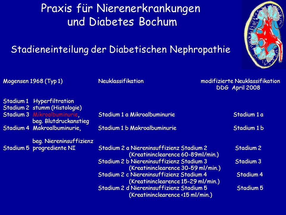 Stadieneinteilung der Diabetischen Nephropathie Praxis für Nierenerkrankungen und Diabetes Bochum Mogensen 1968 (Typ 1) Neuklassifikation modifizierte