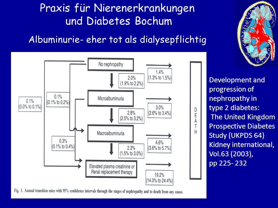 Praxis für Nierenerkrankungen und Diabetes Bochum Albuminurie- eher tot als dialysepflichtig Development and progression of nephropathy in type 2 diab