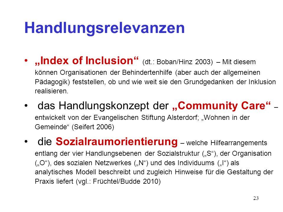 23 Handlungsrelevanzen Index of Inclusion (dt.: Boban/Hinz 2003) – Mit diesem können Organisationen der Behindertenhilfe (aber auch der allgemeinen Pä