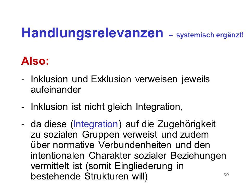 30 Handlungsrelevanzen – systemisch ergänzt! Also: -Inklusion und Exklusion verweisen jeweils aufeinander -Inklusion ist nicht gleich Integration, -da