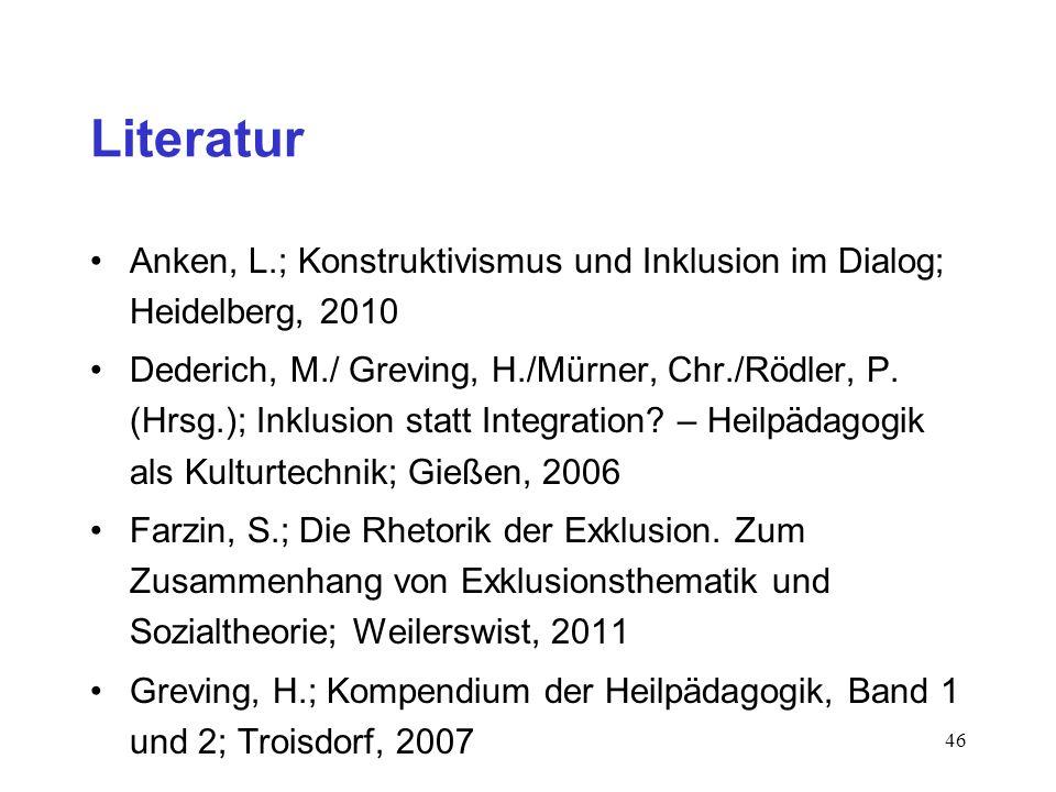 46 Literatur Anken, L.; Konstruktivismus und Inklusion im Dialog; Heidelberg, 2010 Dederich, M./ Greving, H./Mürner, Chr./Rödler, P. (Hrsg.); Inklusio