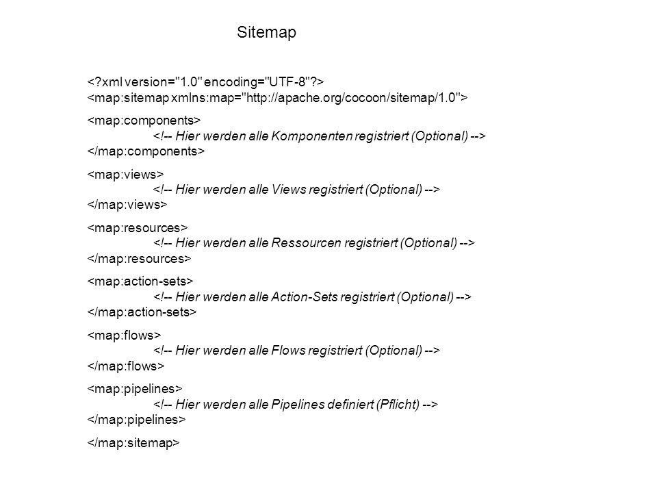 Sitemap Logik-Komponenten: Diese Komponenten haben keinen direkten Einfluss auf die Verarbeitung von Ressourcen, dienen aber dazu, bestimmte Fallunterscheidungen innerhalb der Sitemap zu realisieren, sowie programmierte Logik zu integrieren.
