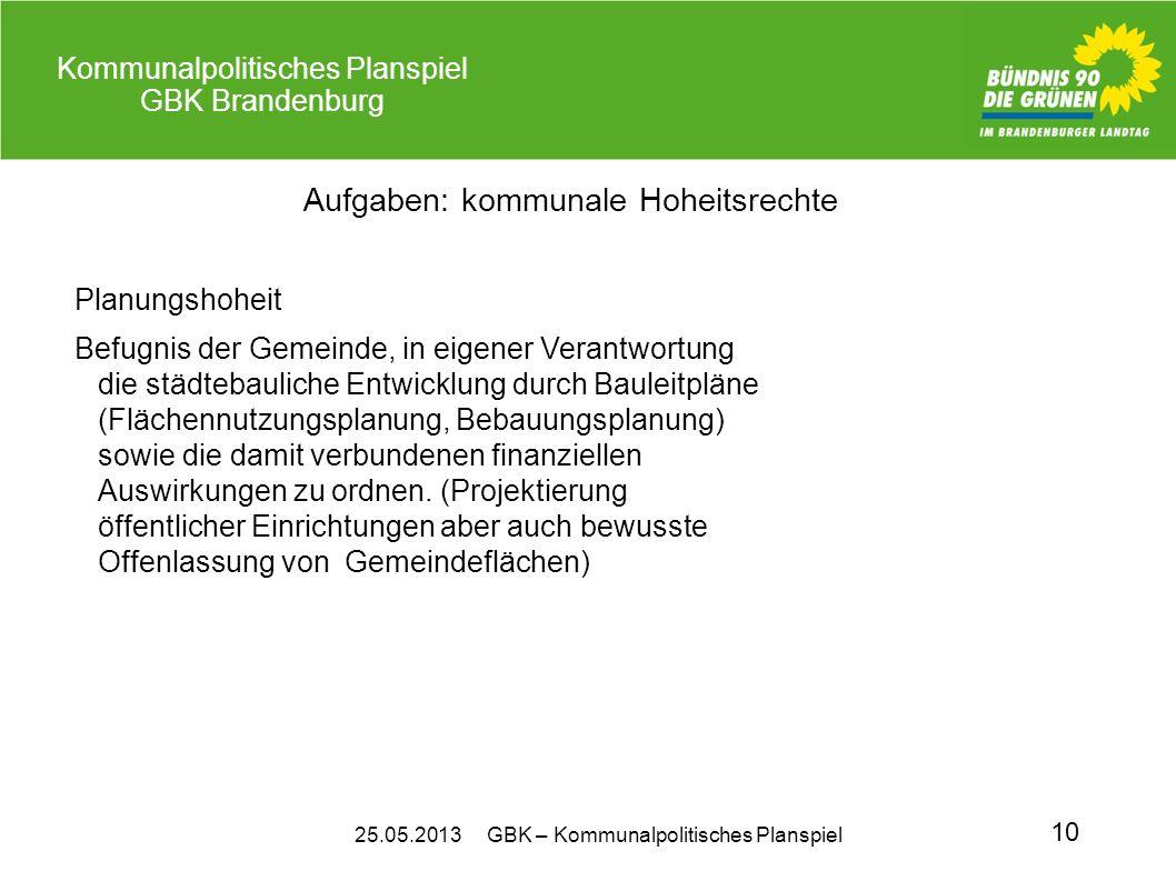 25.05.2013 GBK – Kommunalpolitisches Planspiel Kommunalpolitisches Planspiel GBK Brandenburg 10 Aufgaben: kommunale Hoheitsrechte Planungshoheit Befug