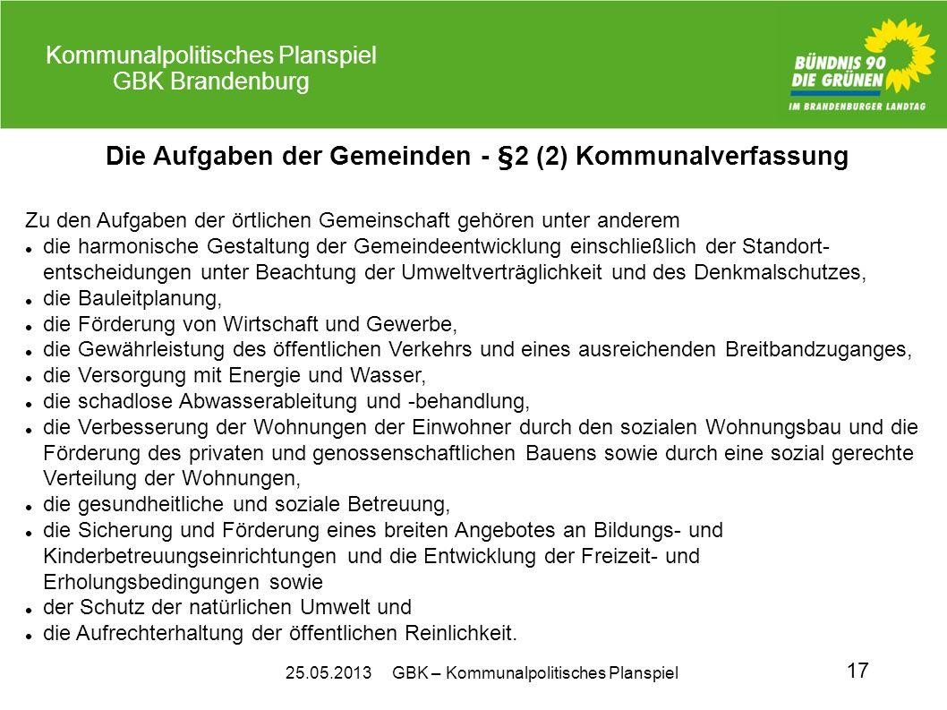 25.05.2013 GBK – Kommunalpolitisches Planspiel Kommunalpolitisches Planspiel GBK Brandenburg 17 Die Aufgaben der Gemeinden - §2 (2) Kommunalverfassung