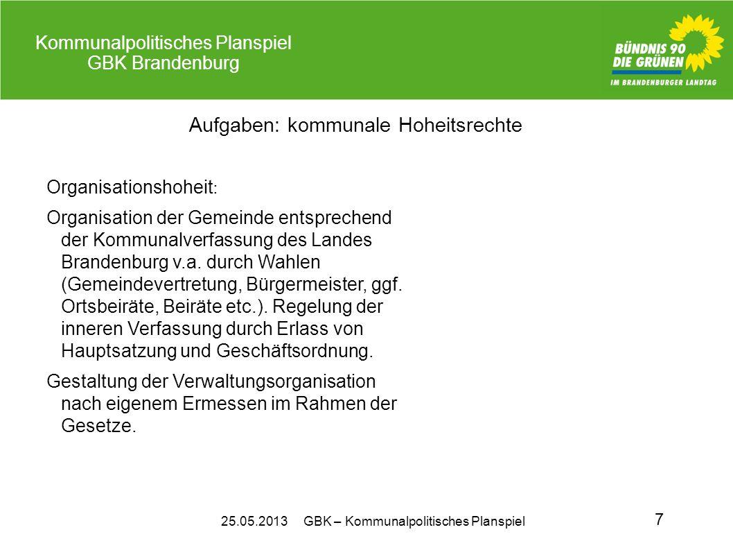25.05.2013 GBK – Kommunalpolitisches Planspiel Kommunalpolitisches Planspiel GBK Brandenburg 7 Aufgaben: kommunale Hoheitsrechte Organisationshoheit :