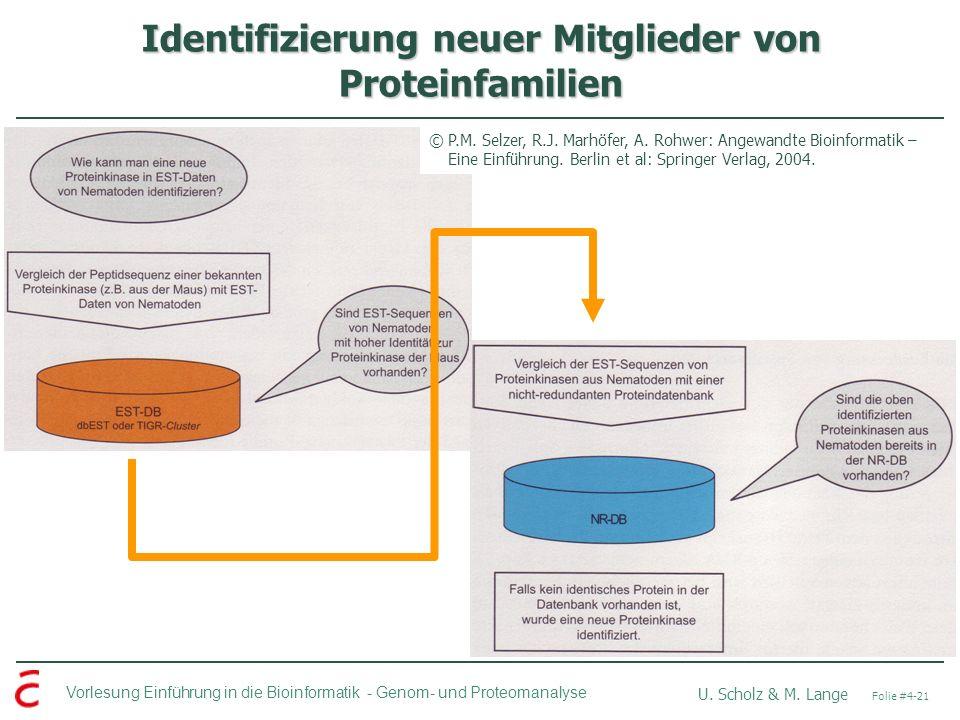 Vorlesung Einführung in die Bioinformatik - U. Scholz & M. Lange Folie #4-21 Genom- und Proteomanalyse Identifizierung neuer Mitglieder von Proteinfam