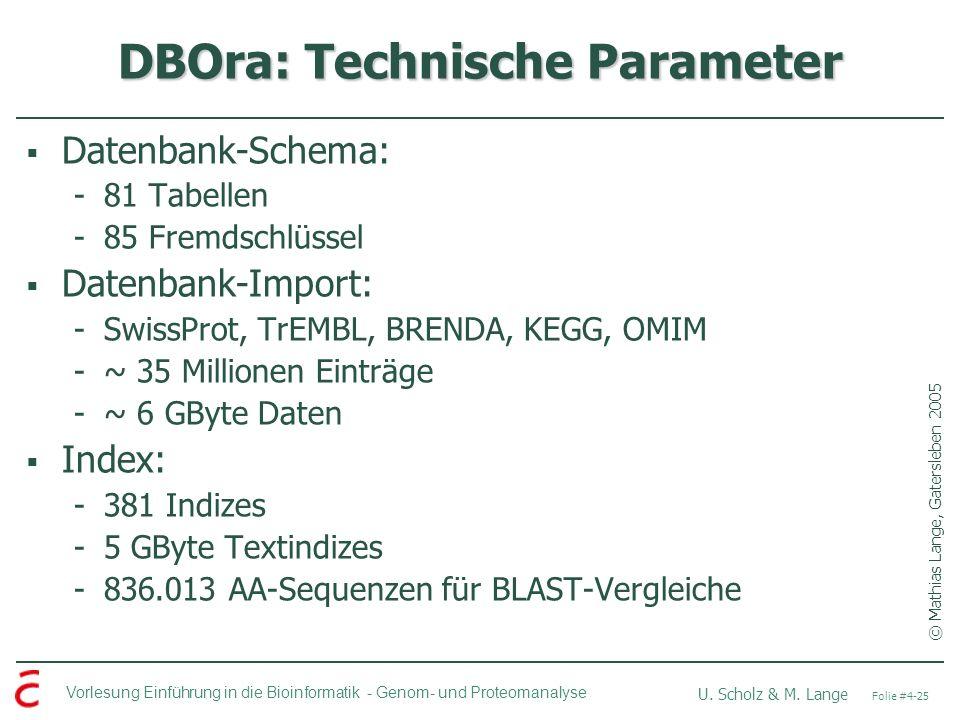 Vorlesung Einführung in die Bioinformatik - U. Scholz & M. Lange Folie #4-25 Genom- und Proteomanalyse DBOra: Technische Parameter Datenbank-Schema: -