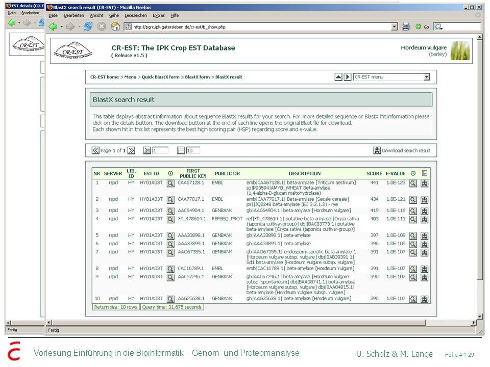Vorlesung Einführung in die Bioinformatik - U. Scholz & M. Lange Folie #4-29 Genom- und Proteomanalyse DBOra: Input CR-EST BLASTX Hit Description