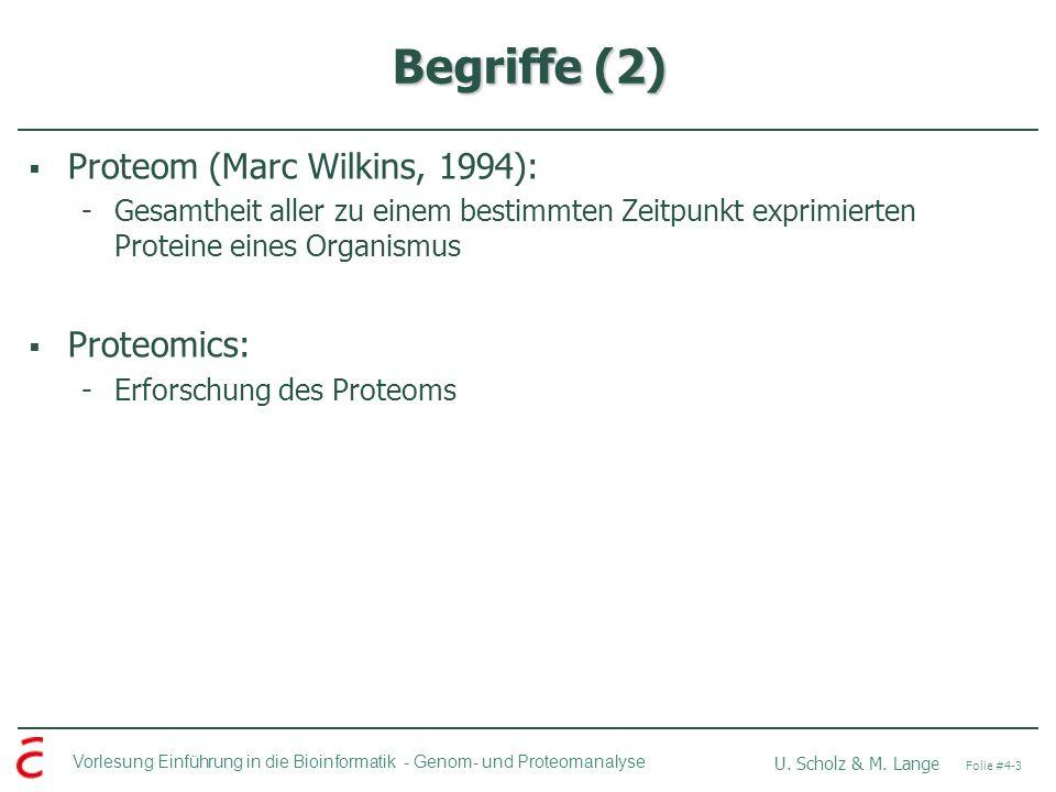 Vorlesung Einführung in die Bioinformatik - U. Scholz & M. Lange Folie #4-3 Genom- und Proteomanalyse Begriffe (2) Proteom (Marc Wilkins, 1994): -Gesa